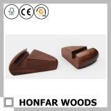 Suporte do telefone da madeira contínua de noz preta para o escritório/Home creativos