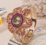 Reloj cristalino del brazalete de la jalea de las señoras de las mujeres del cuarzo de la nueva manera