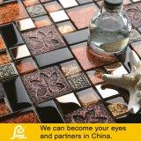 Metal de la mezcla del mosaico del vidrio cristalino del papel de empapelar del diseño de la hoja de arce
