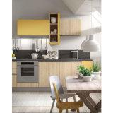 Gabinetes de cozinha amarelos e de madeira da melamina do contraste da cor da grão