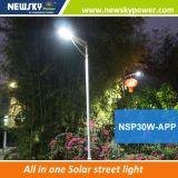 Iluminación 30W Calle de Energía Solar LED todo en uno Farola LED