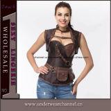 """Espartilho de couro de Bustiers Steampunk da roupa interior das mulheres """"sexy"""" do látex para a venda por atacado (TA21651)"""