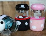 чашка пингвина 420ml стеклянная с сепаратором чашки, держателем чашки и крышкой