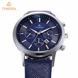 Orologio di cuoio blu 72501 di quarzo analogico degli uomini