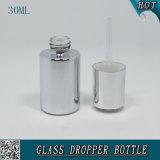 botella de petróleo esencial líquida cosmética del color de la plata de la botella del cuentagotas del suero de la esencia 30ml