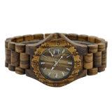 Het aangepaste Houten Horloge van het Sandelhout van de Greep van het Embleem Houten Gestreepte