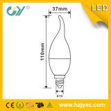 6000k E14 Cl35 3W Aluminio de plástico LED vela de luz
