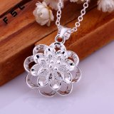 Collar pendiente plateado plata de la flor de la joyería de la manera para las muchachas