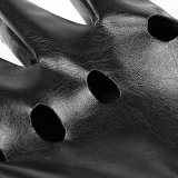 Performance Punk Black Broken Holes Guantes cortos guantes de cuero (S-215)