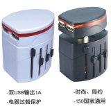 Carregador de viagem de segurança All-in-One World Wide All-in-One Plugue de conversão de parede 2A Carregador USB para varejo on-line