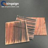 Hoja de acrílico del alto grano de madera brillante para la decoración