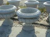 Figura rotonda del granito G603 del giardino del fiore del POT grigio della piantatrice per il giardino Lansacpe