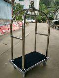 Carro de prata da bagagem do hotel do aço inoxidável
