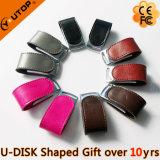 Fashionable Silkscreen Logo Black Leather USB Stick (YT-5116)