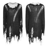 Maglione alla moda di rave M-038 del progettista del pullover del O-Collo delle signore punk del nero