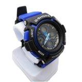 プラスチックケースの輪ゴムの日本動きの防水青いクロノグラフの腕時計