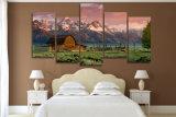 HD imprimió las montañas rocosas de Teton del granero que pintaban en el cuadro Mc-040 del cartel de la impresión de la decoración del sitio de la lona