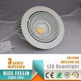 éclairage commercial de joncteur réseau du cardan 50W de forme de Downlight DEL de lumière tournable de système