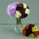 Flor artificial decorativa de la alta calidad del ramo de Camelia (SF14654)