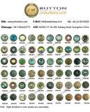 Зеленая вычура Rhinestone конструирует кнопки металла
