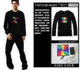 고품질 음악에 의하여 활성화되는 EL t-셔츠