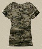 سيدة [فشيون] [كمووفلج] [بتّرن] [برينتد] عادة قطر مستديرة عنق قمزة [ت] قميص