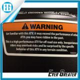 OEM d'avvertimento degli autoadesivi di alta qualità