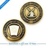 挑戦記念品の古い硬貨を押す供給の習慣