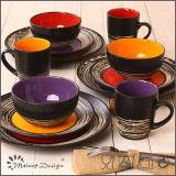 alta qualità di ceramica dell'insieme di pranzo 16PCS che lustra con l'effetto della corteccia