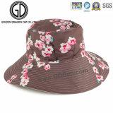2016 Nuevas señoras de moda Big Brim Reversible Flower Bucket Hat