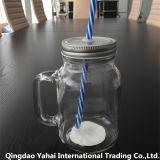 taza de cristal de la manija 500ml con el casquillo del metal