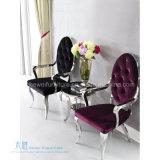 ホテル(HW-YH91C)のための椅子を食事する現代ステンレス鋼のArmrest