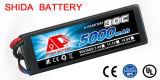 Caisse dure 5000mAh 11.1V de batterie au lithium de taux élevé de véhicule de RC