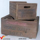 Arte reciclados mentes de abeto de la vendimia de Brown cajas de madera con manijas
