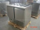 Refrigerador de vidro curvado para Saladette com Ce