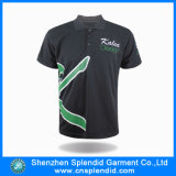 Dos homens pretos lisos feitos sob encomenda do poliéster do preço barato t-shirt do polo