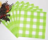 Grüne Checkered gedruckte hölzerne Massen-Papierserviette, Partei-Serviette, Serviette