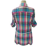 (81191) - 숙녀의 우연한 긴 소매 검사 블라우스 가죽 벨트 셔츠