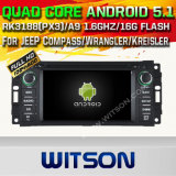 Carro DVD GPS do Android 5.1 de Witson para o compasso/Wrangler/Kreisler do jipe com sustentação do Internet DVR da ROM WiFi 3G do chipset 1080P 16g (A5620)