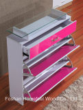 Glass Top를 가진 현대 3 Drawers High Gloss Shoe Cabinet