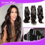 100% tecelagens peruanas do cabelo humano de Remy do Virgin da onda natural não processada do Virgin (W-1090