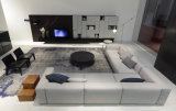 Grand confort L sofa sectionnel de tissu de coin de forme réglé (FS-019)