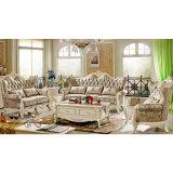 居間の家具(510E)のためにセットされる木製ファブリックソファー