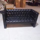 Living Room Sofa with Leather Seat