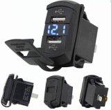 2 In1 de Stijl 4.2A Dubbele USB van de Tuimelschakelaar met de Lader van de Auto van de Blauwe LEIDENE Voltmeter van de Digitale Vertoning voor Smartphone