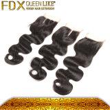 Линия перуанское закрытие волос кожи части сильного шнурка центральная шнурка