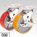 Rote PU-Schritt-Schwenker-Bremsen-Platten-Oberseite-Fußrolle