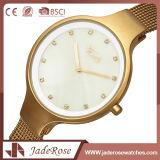 Reloj de cristal mineral del cuarzo de la elegancia del acero inoxidable de las señoras