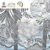 Tela bonita do laço do bordado da flor branca, forma e o Desing o mais novo C10035