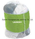個人化された特大の頑丈で白いナイロン網のドローストリングの洗濯袋